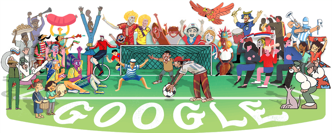 World Cup 2018 Google Doodle in detail.