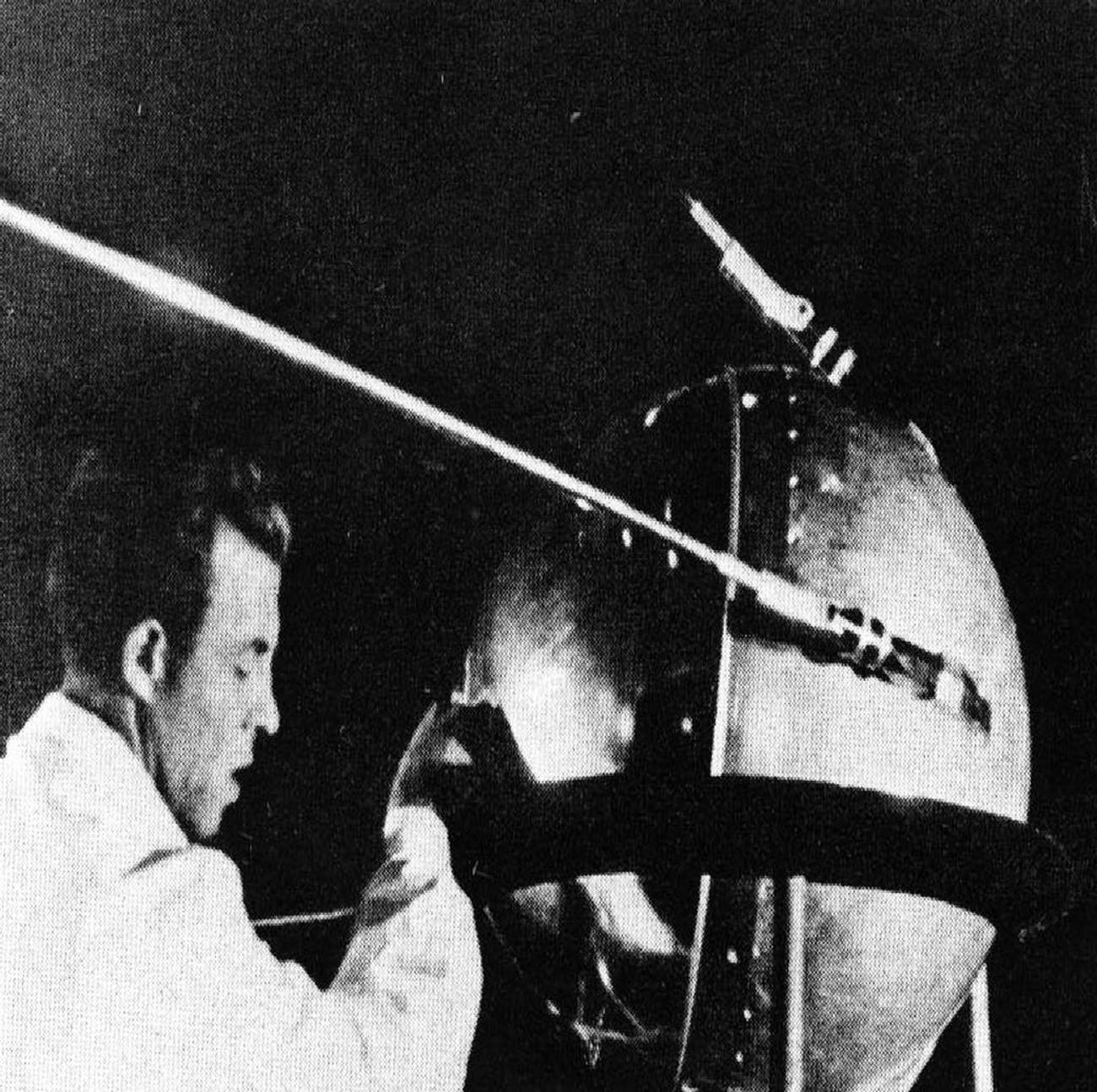 This first official picture of the Soviet satellite Sputnik I was issued in Moscow Oct. 9, 1957. The satellite measured 1 foot, 11 inches and weighed 184 pounds. The Space Age began as the Soviet Union launched Sputnik, the first man-made satellite, into orbit, on Oct. 4, 1957.