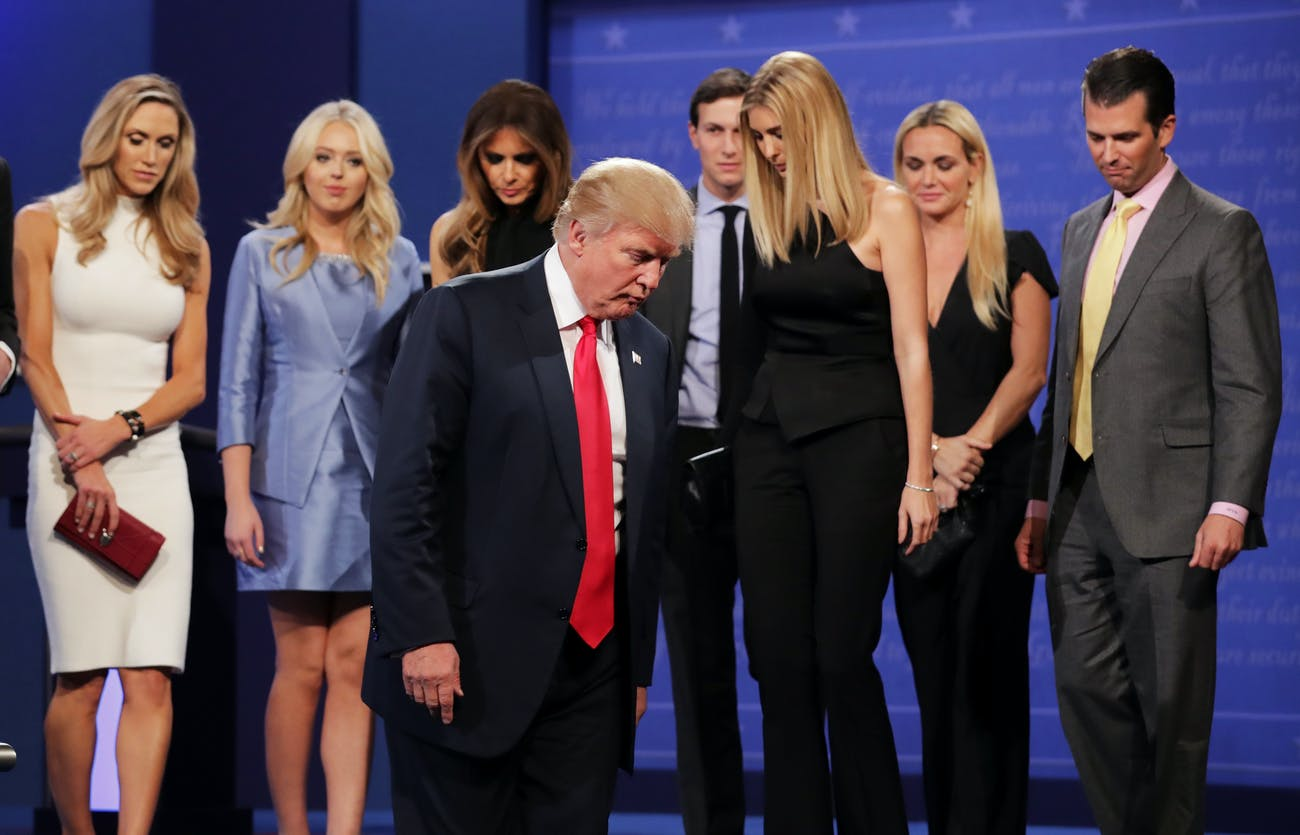 LAS VEGAS, NV - OCTOBER 19: Republican presidential nominee Donald Trump (C) walks off stage as (L-R) Lara Yunaska, Vanessa Trump, Melania Trump, businessman Jared Kushner, Ivanka Trump, Vanessa Trump, and Donald Trump Jr. look on after the third U.S. presidential debate at the Thomas & Mack Center on October 19, 2016 in Las Vegas, Nevada. Tonight is the final debate ahead of Election Day on November 8. (Photo by Chip Somodevilla/Getty Images)