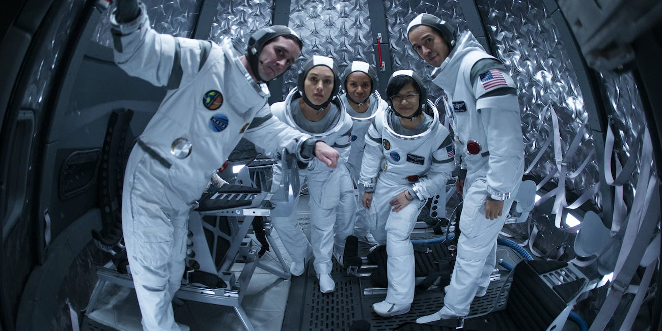 Nick Fletcher (James Ransone), on the left, is one of five astronauts chosen to colonize Mars in 'The First'.
