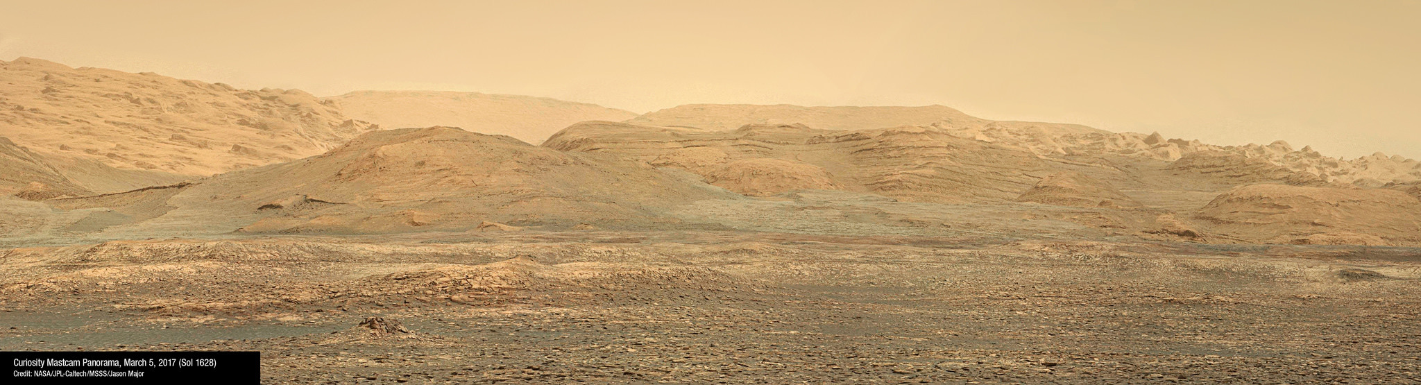 A panorama view of the Bagnold Dunes.