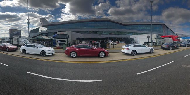 Tesla cars lined up at Silverstone