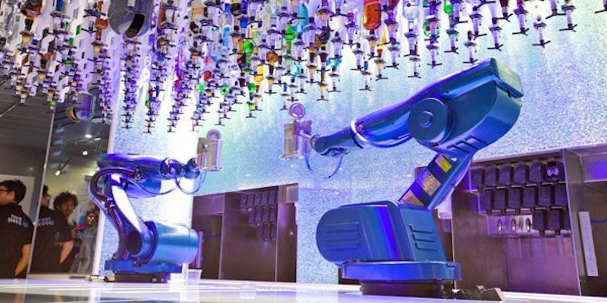 robot bartender tipsy robotic drink alcohol bar cocktail