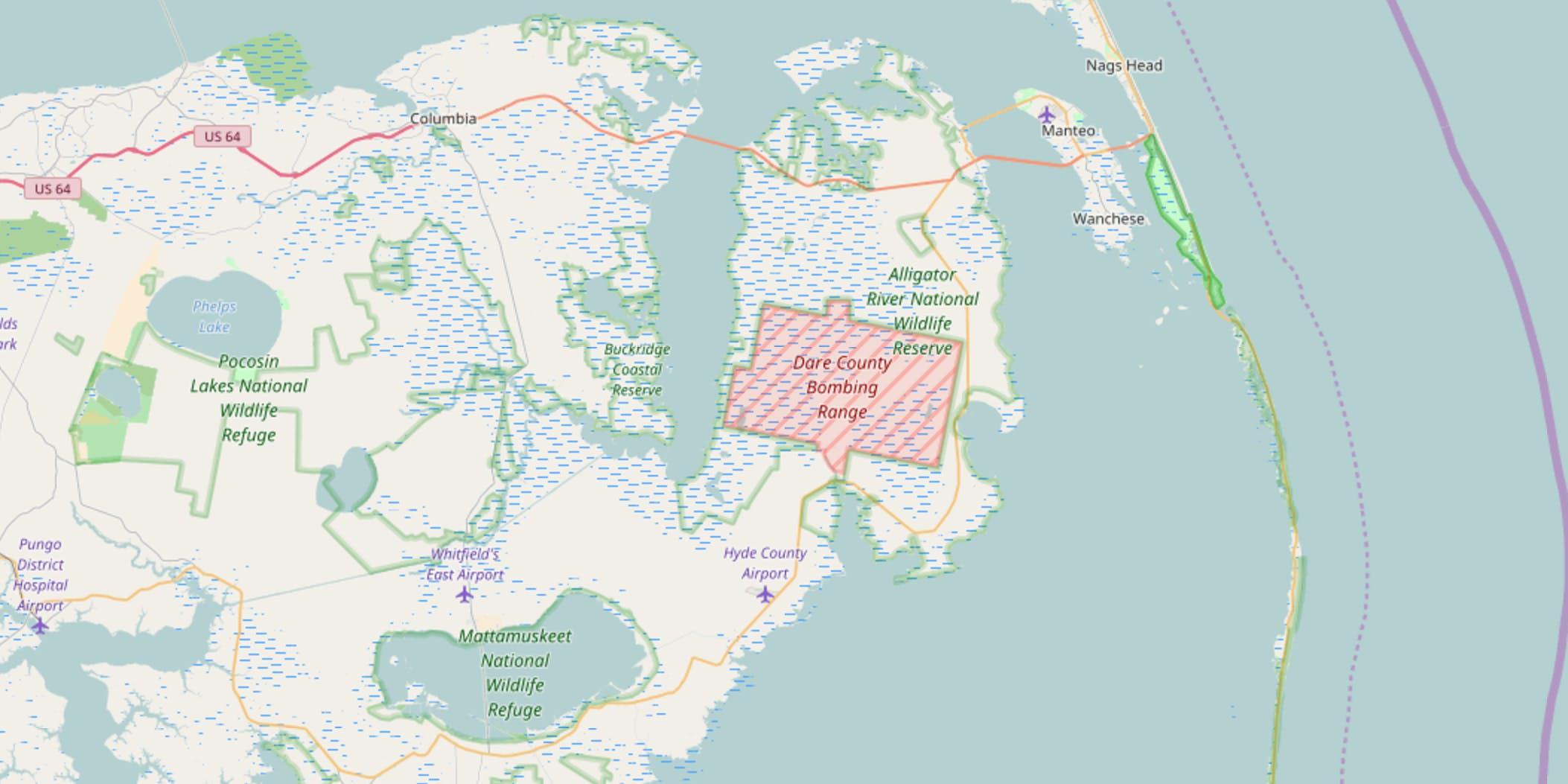 dare country bombing range on faa map