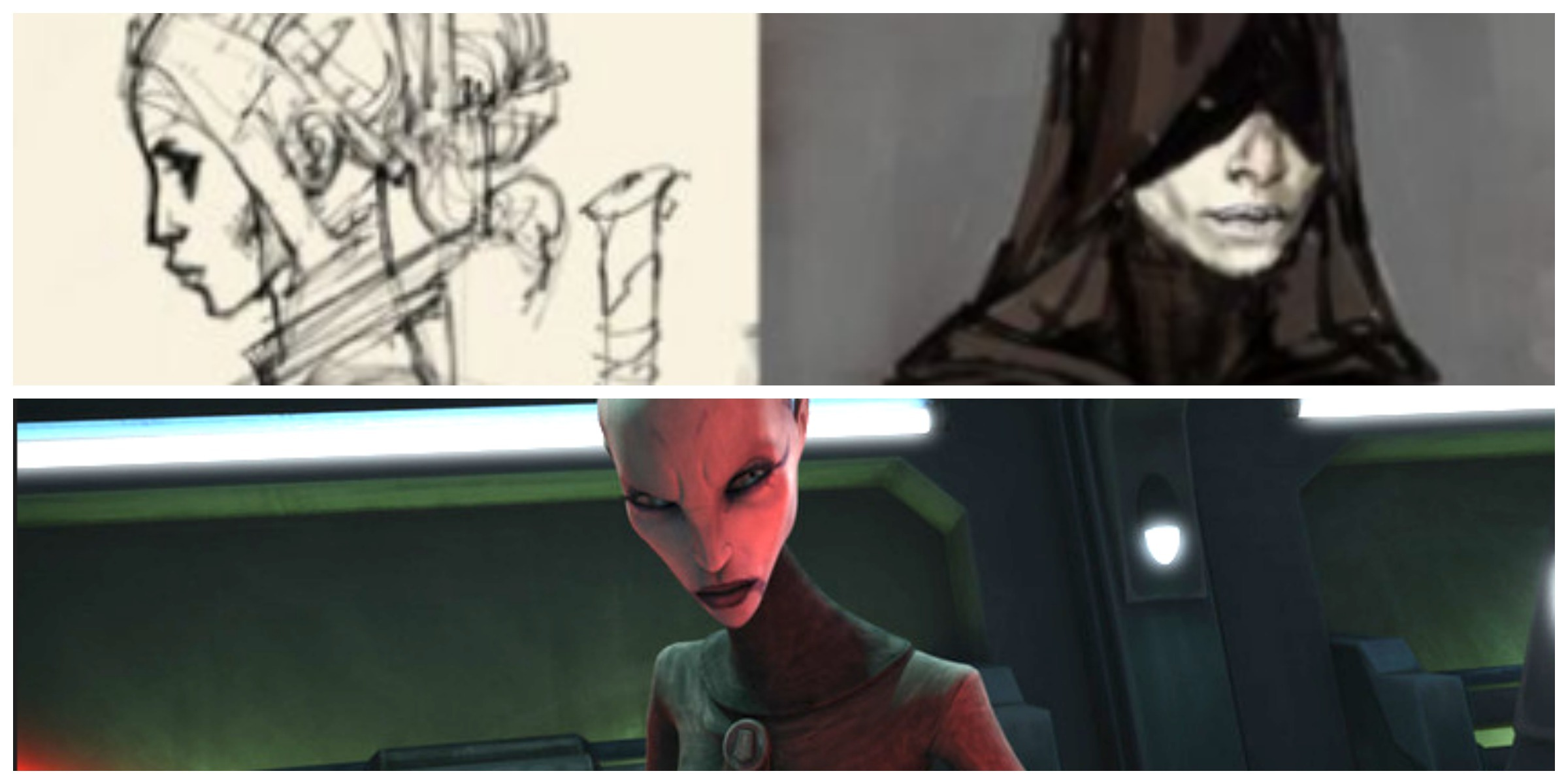 TOP: Doug Chiang concept art for 'The Phantom Menace.' BOTTOM: Ventress in 'The Clone Wars.'