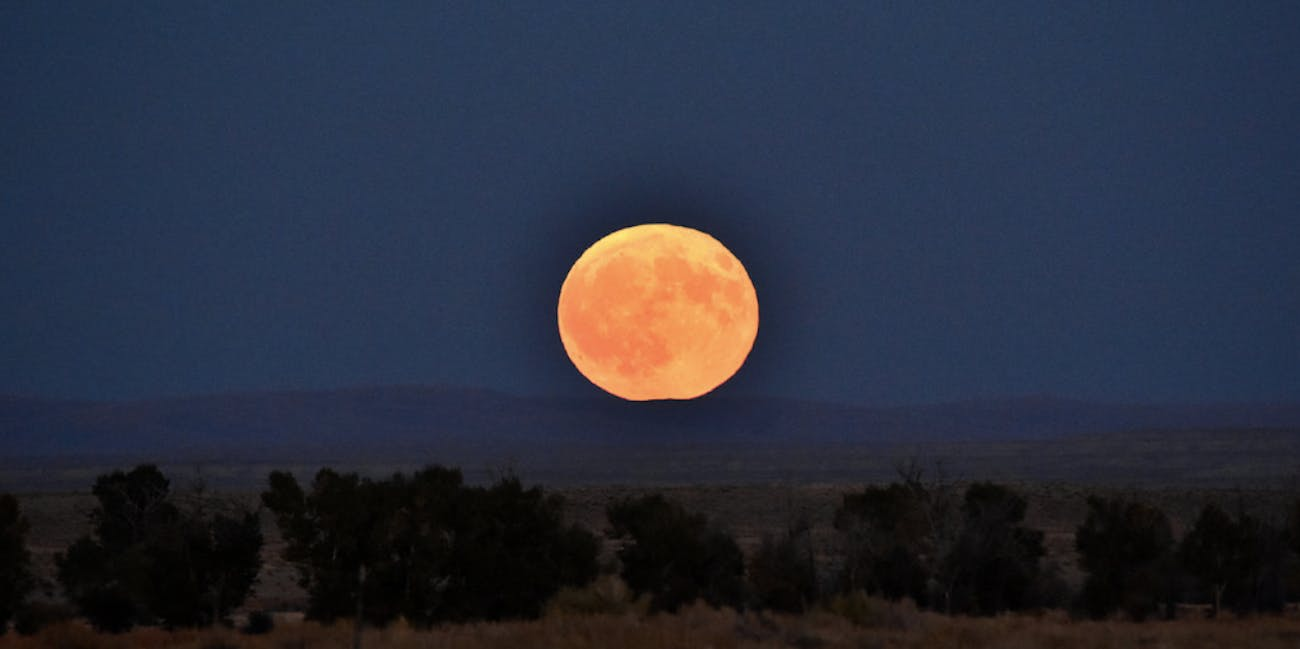 The full fall moon on September 16, 2016, in Seedskadee National Wildlife Refuge, Wyoming.