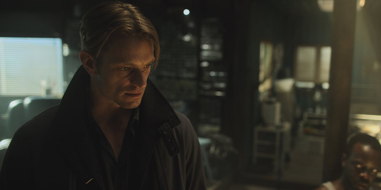 Joel Kinnaman as Takeshi Kovacs in 'Altered Carbon'.