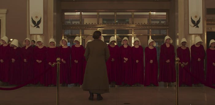 The Handmaids prepare to meet the Mexican ambassador in 'The Handmaid's Tale'