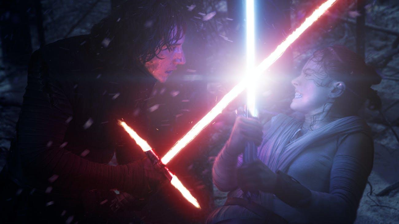 Kylo Ren battles Rey in 'The Force Awakens.'