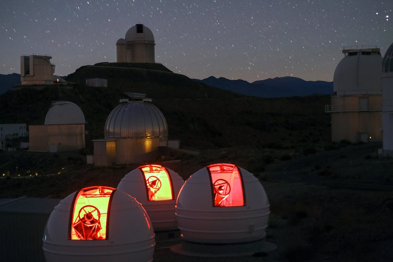 The ExTrA telescopes scanning the skies for Earth-like planets.