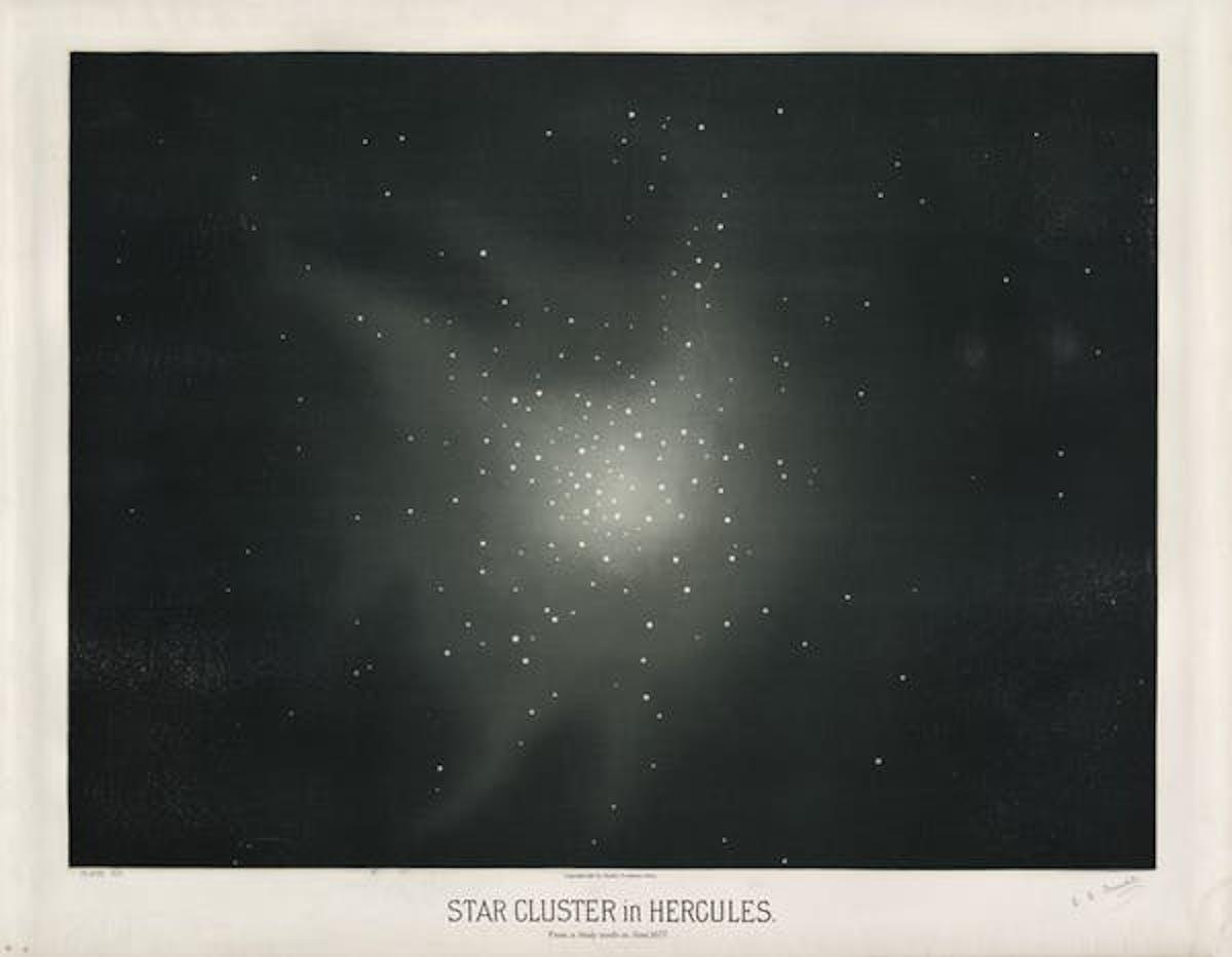 Star cluster Messier 13 in Hercules, 1877.