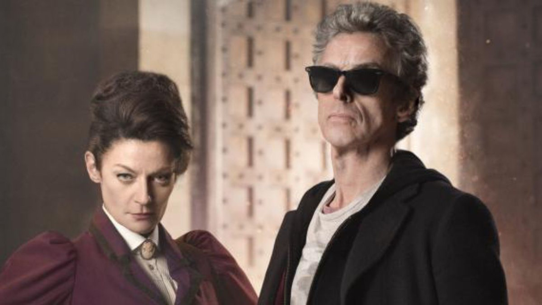 """Michelle Gomez as """"Missy"""" with Capaldi and his sunglasses  in season 9"""