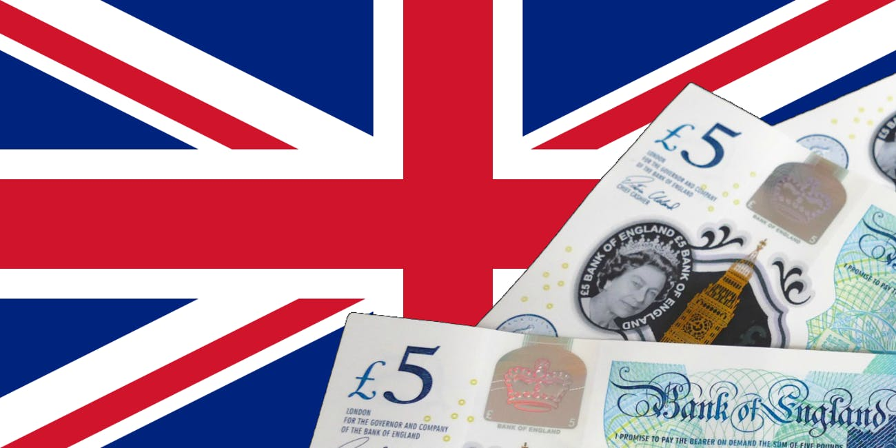 UK flag and cash