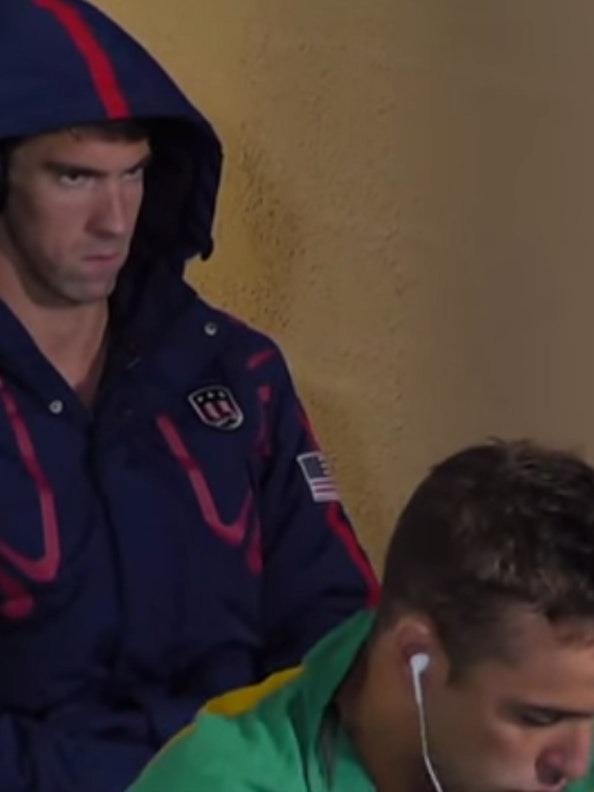 Michael Phelps and rival Chad le Clos.