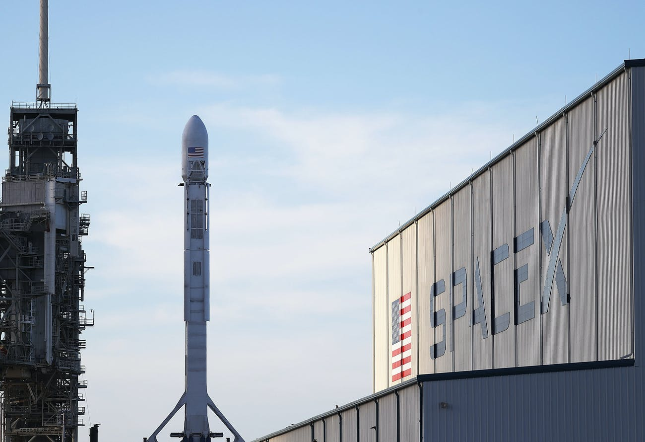 CAPE CANAVERAL, FL - APRIL 29: A SpaceX rocket sits on launch pad 39A as it is prepared for the NROL-76 launch on April 29, 2017 in Cape Canaveral, Florida. SpaceX will attempt to deliver a classified payload to orbit and liftoff is scheduled for tomorrow at 7 a.m. ET from Kennedy Space Center. (Photo by Joe Raedle/Getty Images)