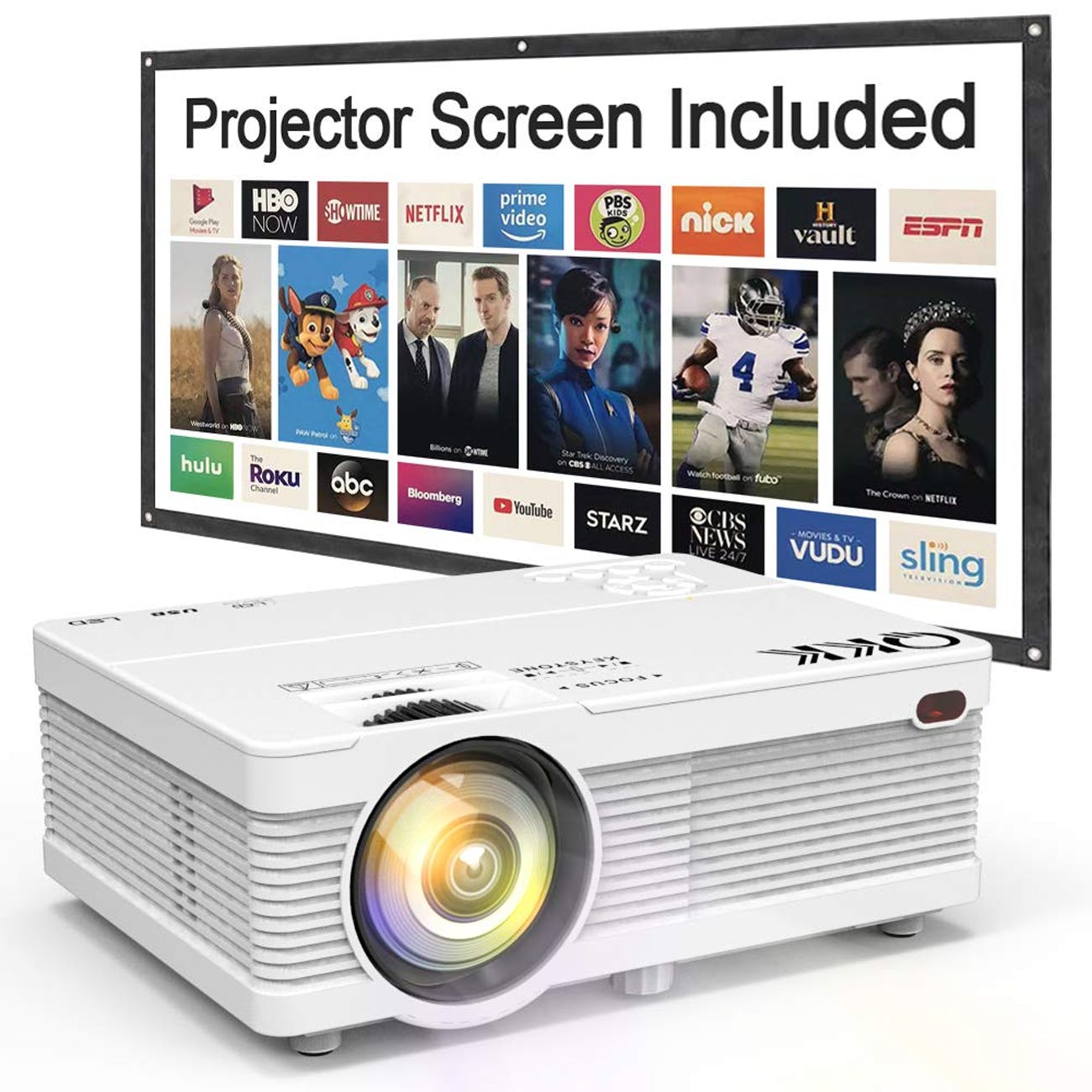 "QKK Portable LCD Projector 2800 Brightness [100"" Projector Screen Included] Full HD 1080P Supported, Compatible with Smartphone, TV Stick, Games, HDMI, AV, Indoor & Outdoor Projector for Home Theater"