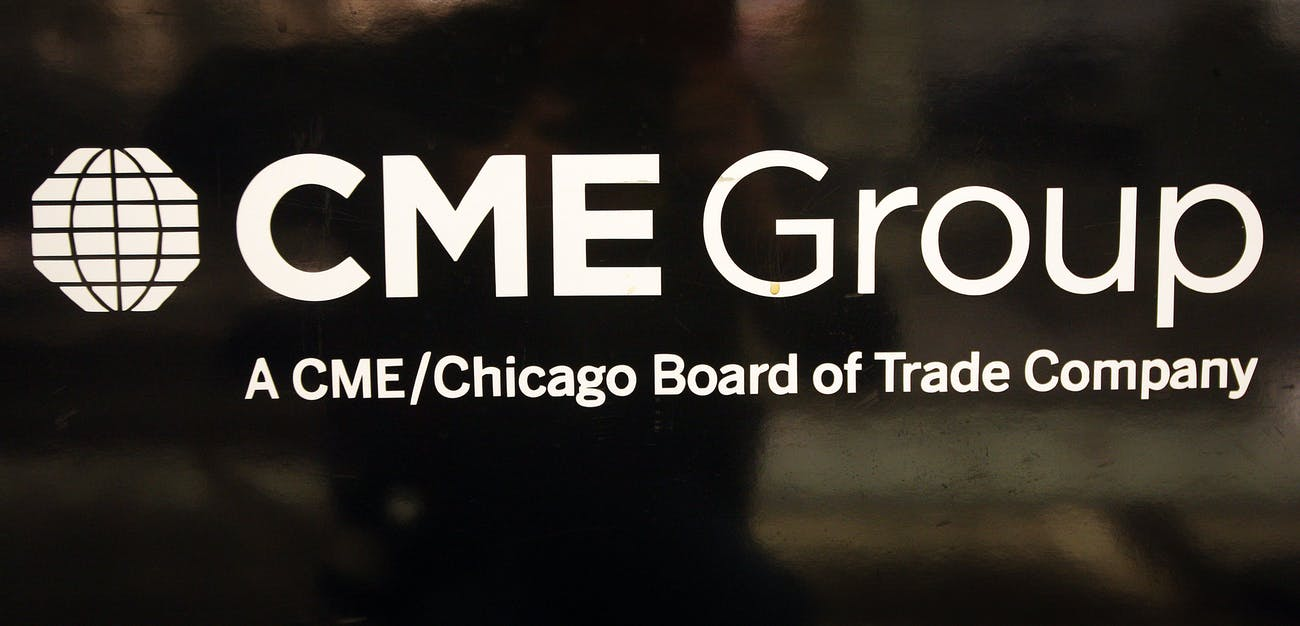 A logo for the CME Group is displayed in the lobby of the exchange March 17, 2008 in Chicago, Illinois.