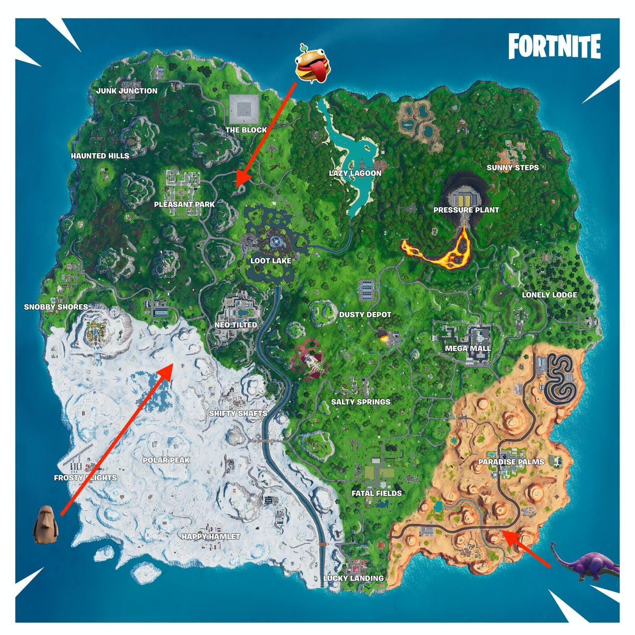 Fortnite Stone Head Statue Locations Season 10 Map Video