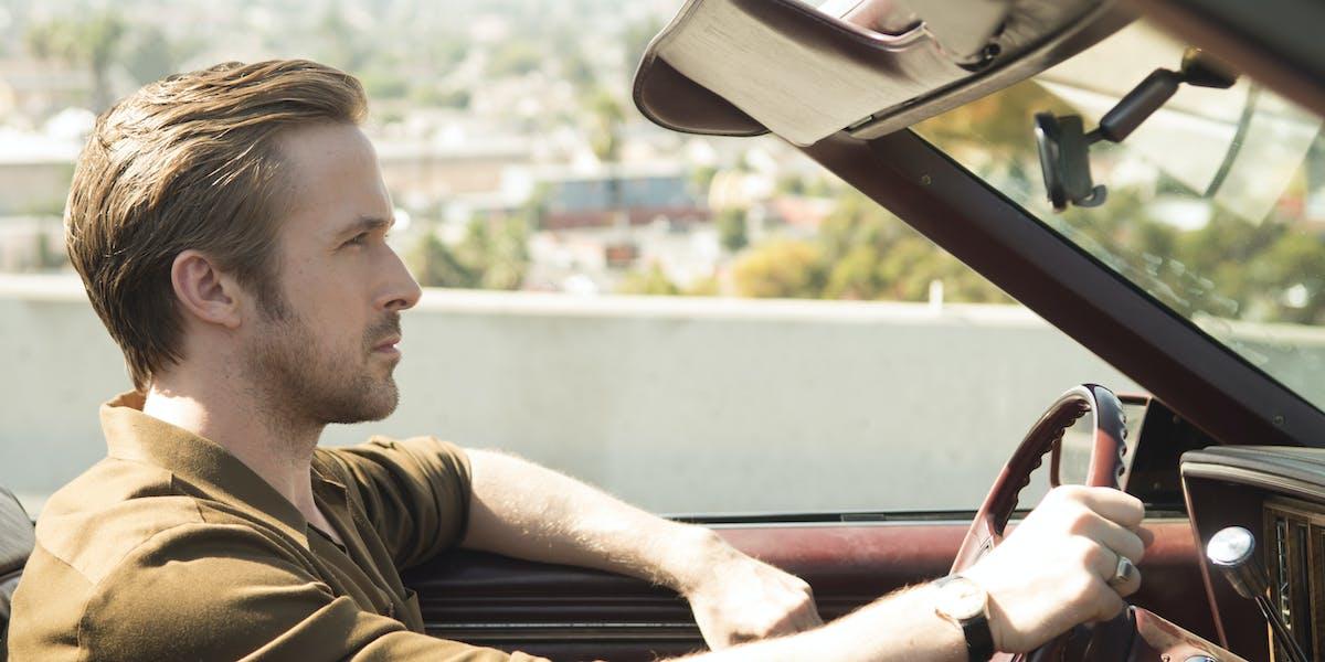 Ryan Gosling in the opening freeway scene