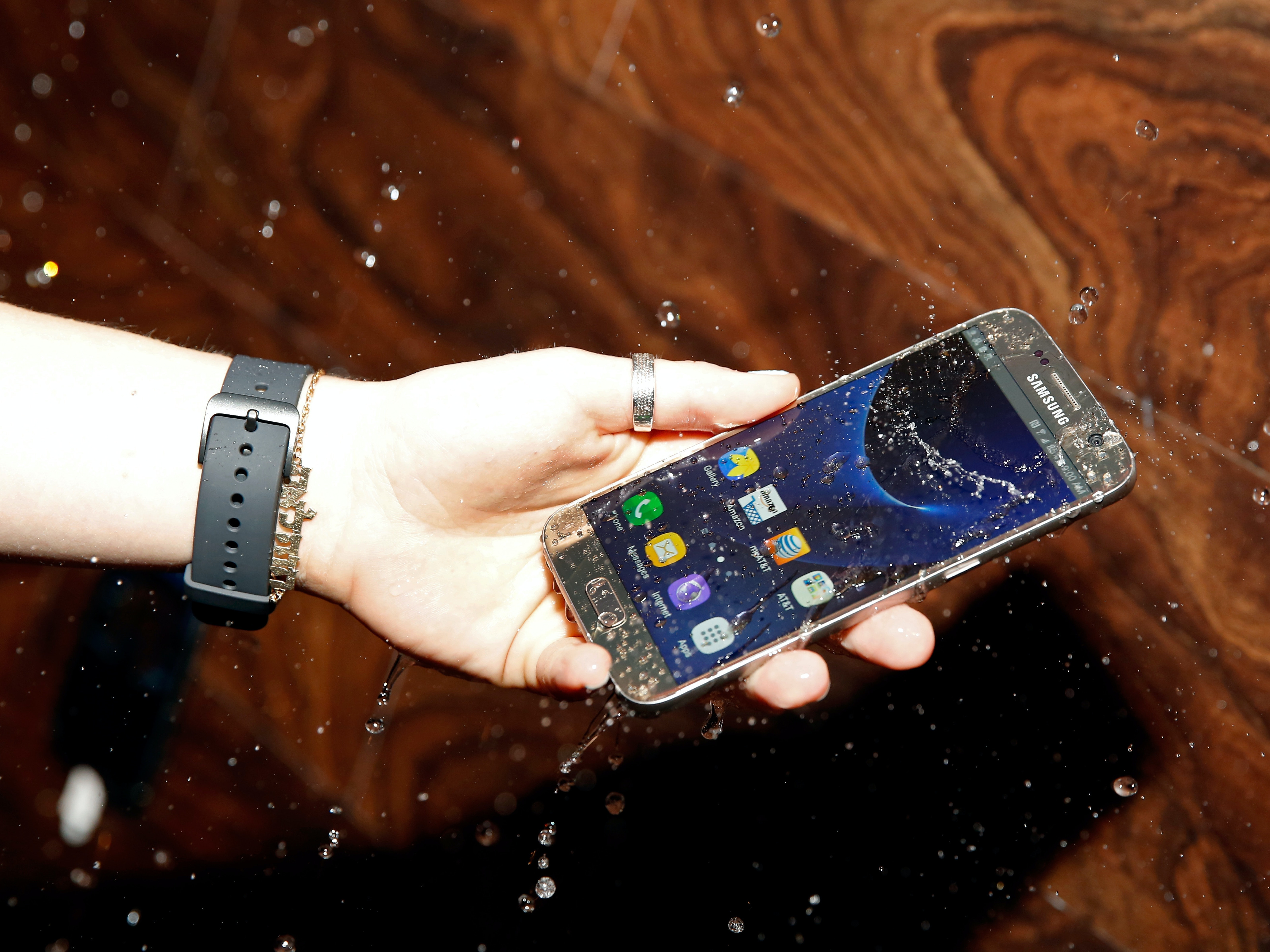 AUSTIN, TX - MARCH 11:  The water resistant Samsung Galaxy S7 is seen at The Samsung Studio at SXSW 2016 on March 11, 2016 in Austin, Texas.  (Photo by Rick Kern/Getty Images for Samsung)
