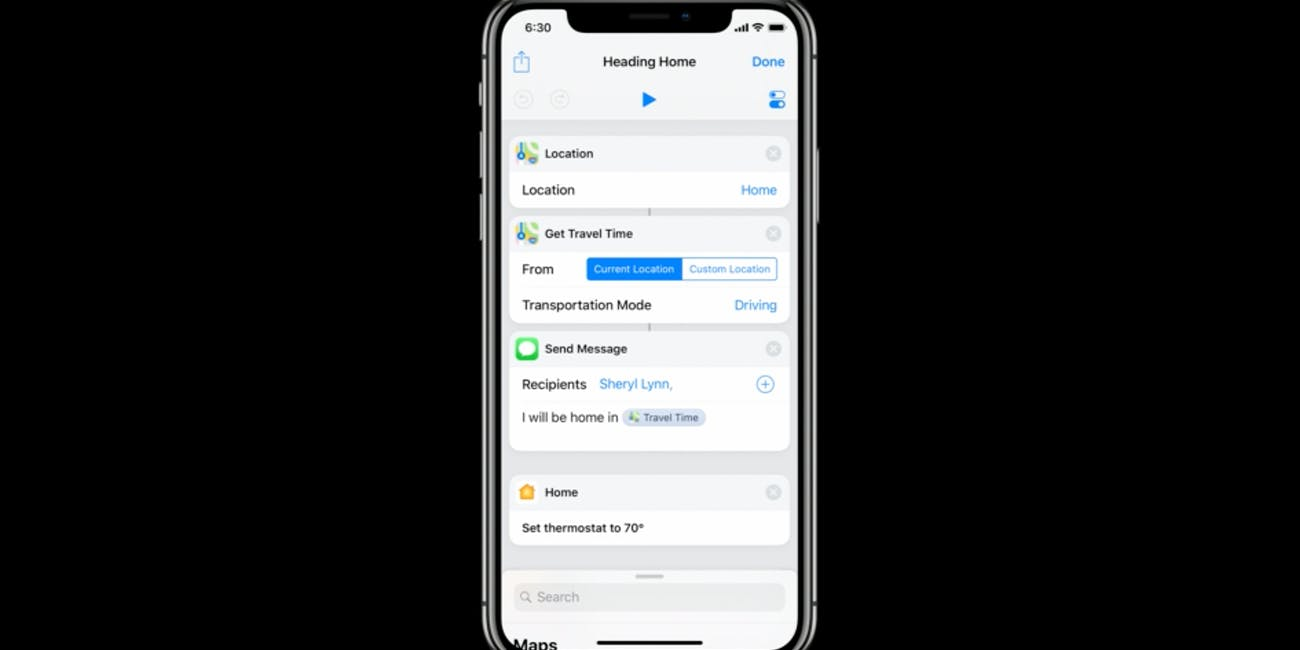 Siri Shortcuts interface.