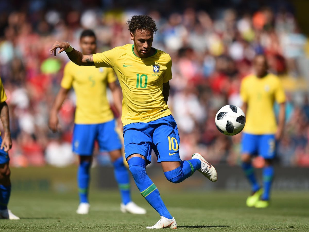 Neymar of Brazil plays in a World Cup warm-up match in June.