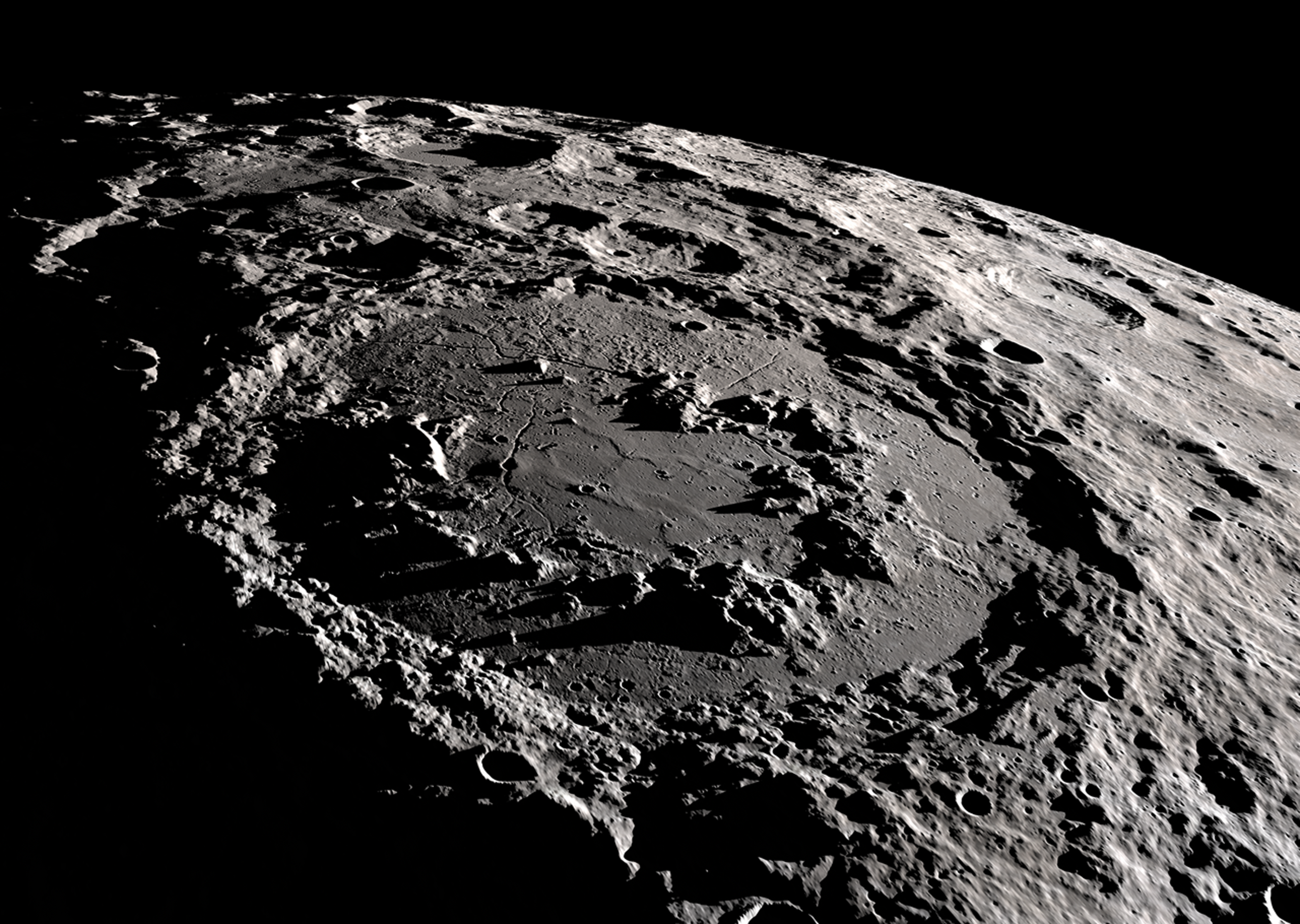 The moon's Schrödinger basin. According to lunar convention, craters more than 186 miles across are called basins.