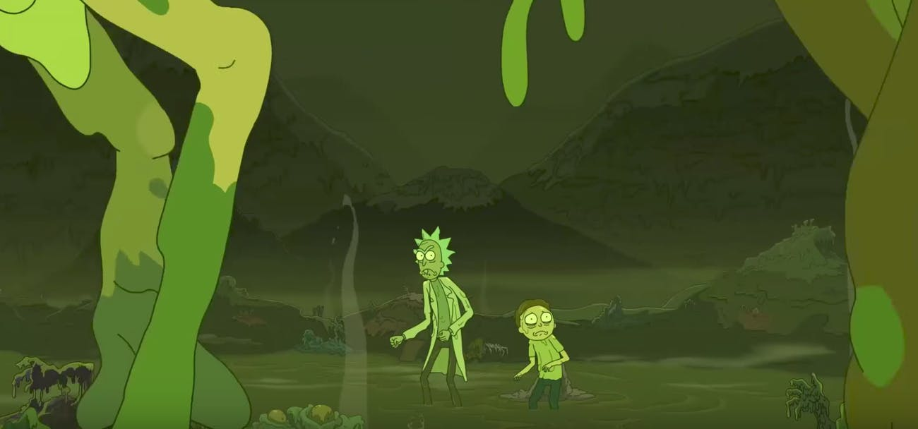 Is this the same Radioactive pair fighting regular Rick and Morty from before?