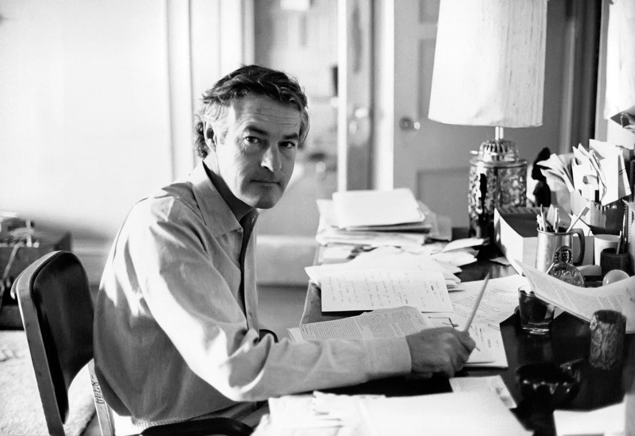 Timothy Leary working at home