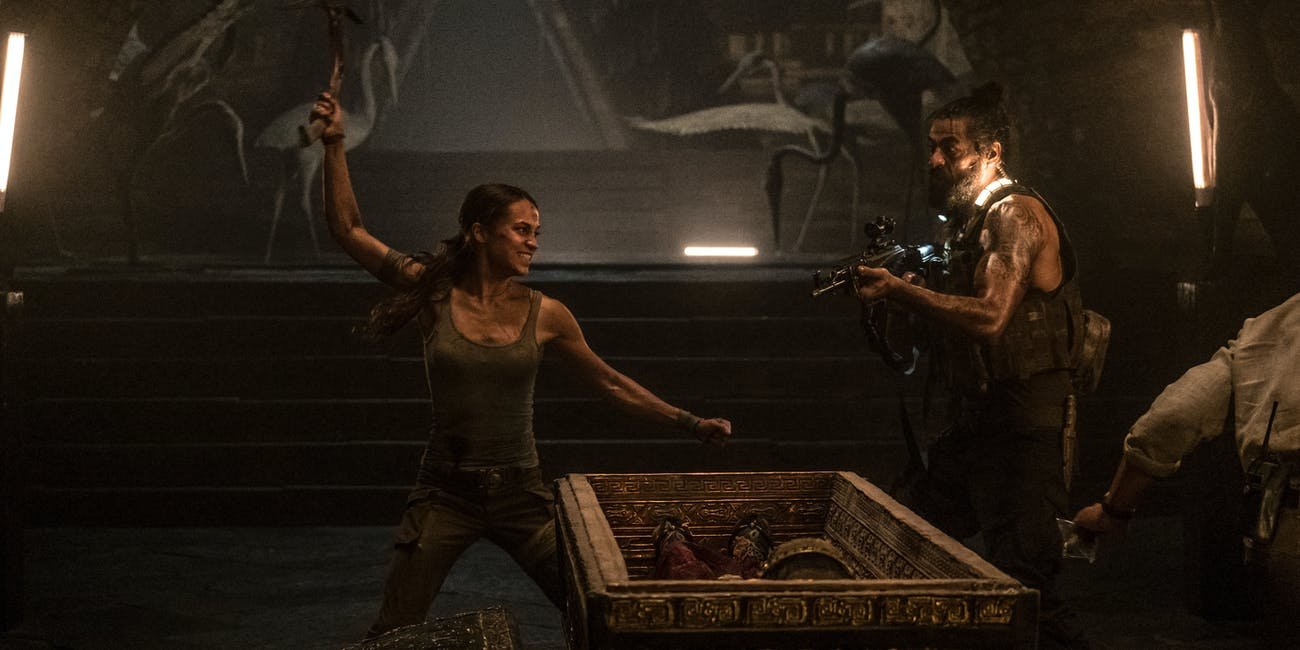 "(Left) ALICIA VIKANDER as Lara Croft in Warner Bros. Pictures' and Metro-Goldwyn-Mayer Pictures' action adventure ""TOMB RAIDER,"" a Warner Bros. Pictures release."