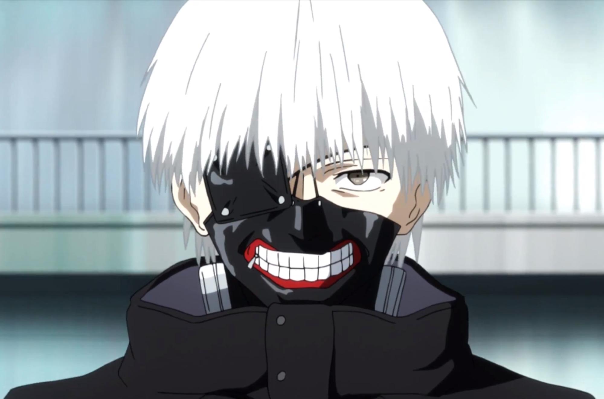 Half-ghoul Ken as he appears in the anime