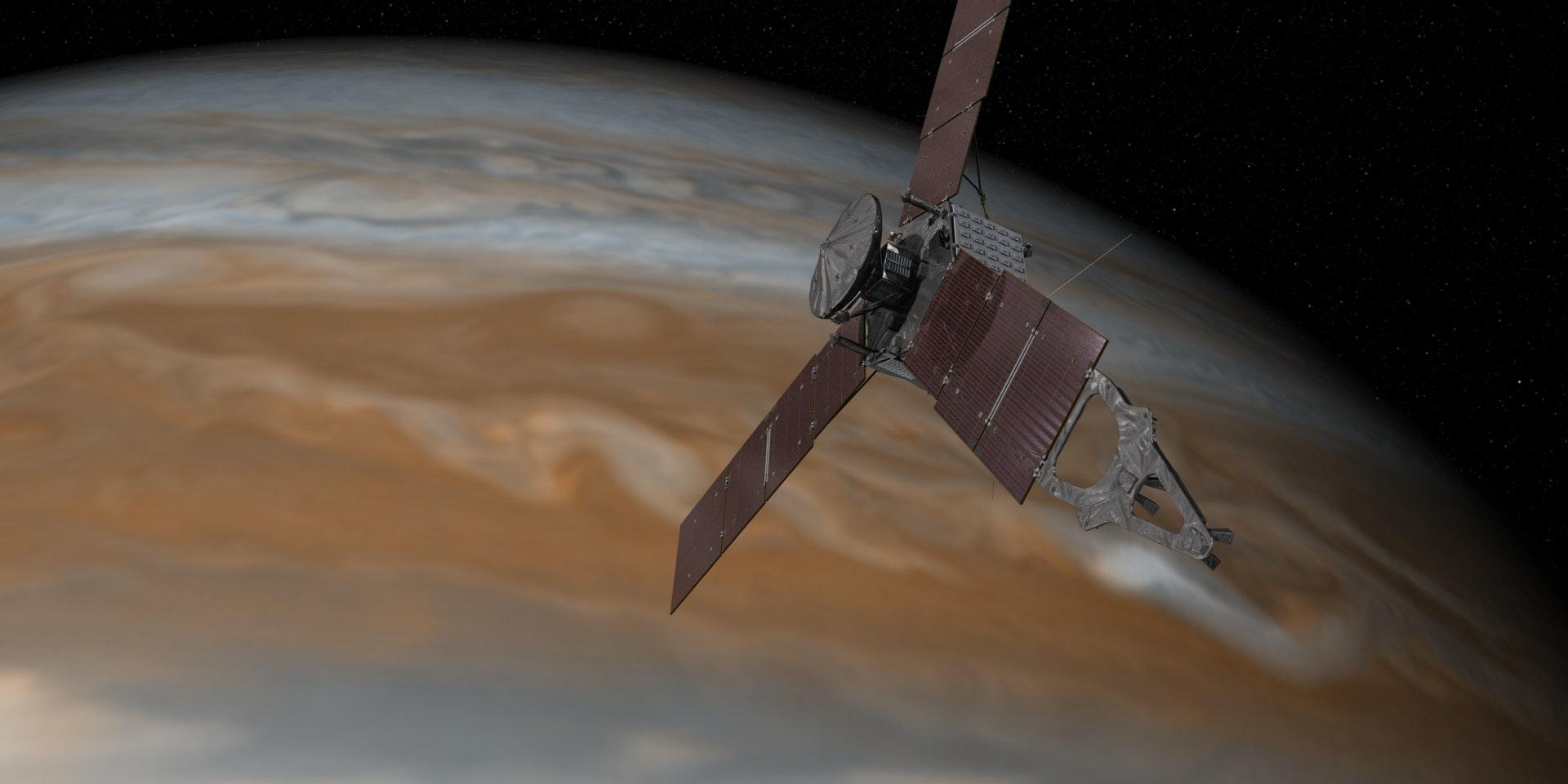 Artist's conception of the Juno spacecraft near Jupiter.
