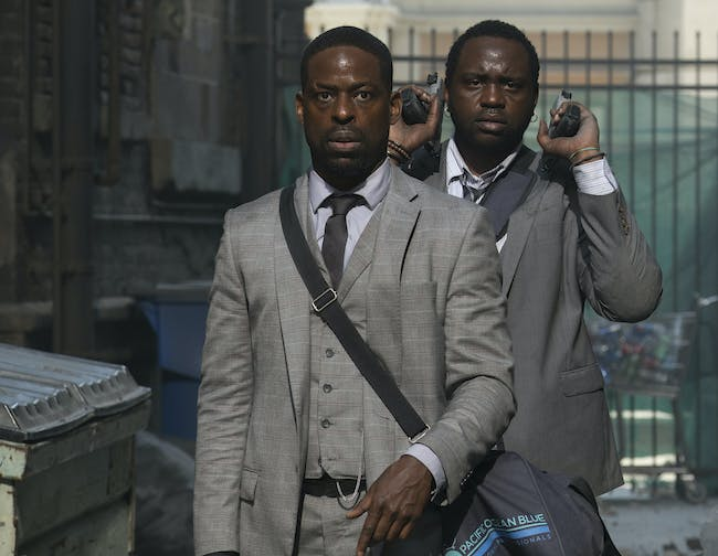 Sterling K. Brown and Brian Tyree Henry play bank robbers who go to 'Hotel Artemis' a heist goes awry.
