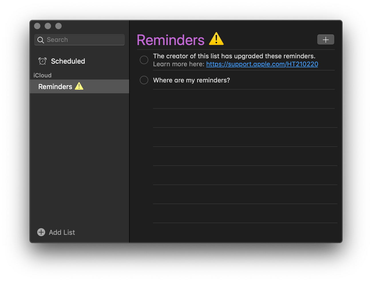 Reminders: not on Mac yet!