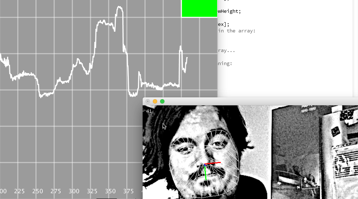 This screenshot shows how the program uses facial tracking to produce sound