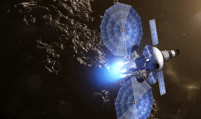 An artist's rendering of a solar electric propulsion tug above an asteroid.