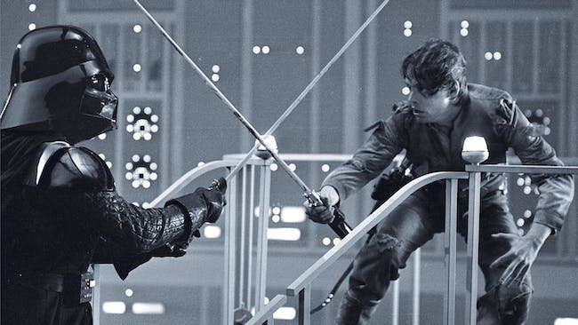 """""""Fighting versions"""" of the lightsabers in all the films typically have a thin rod that's augmented with the lights during the editing process."""