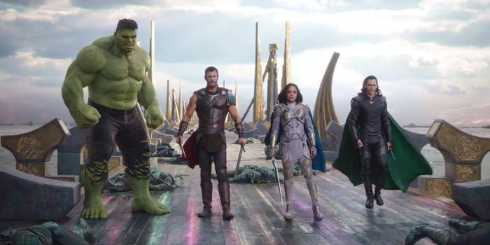 A team comprised of Thor, Valkyrie, Hulk, and Loki to take out Hela in 'Thor: Ragnarok'