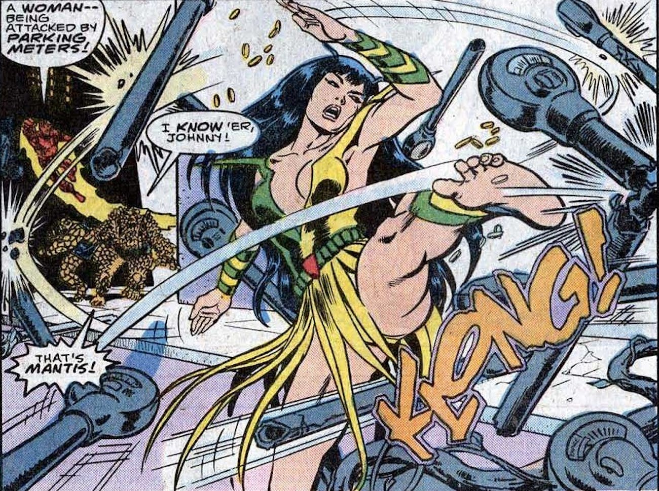 Mantis in the Marvel Comics. Newer versions of the character are green.