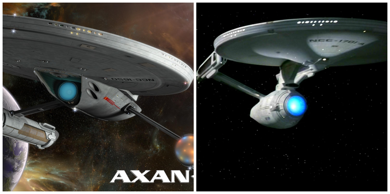 LEFT: A starship from 'Axanar.' RIGHT: The USS Enterprise in 'Star Trek VI.'