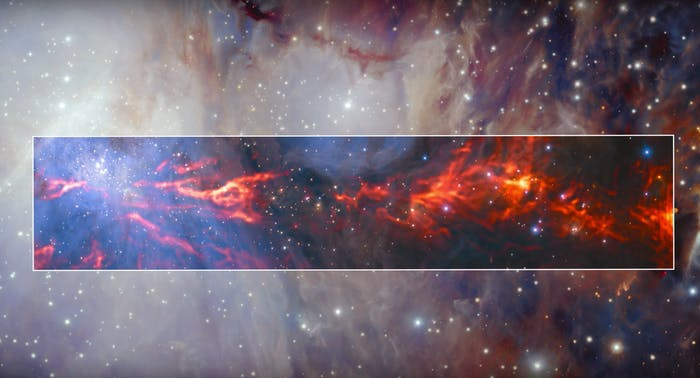 This spectacular and unusual image shows part of the famous Orion Nebula, a star-forming region about 1350 light-years from Earth.
