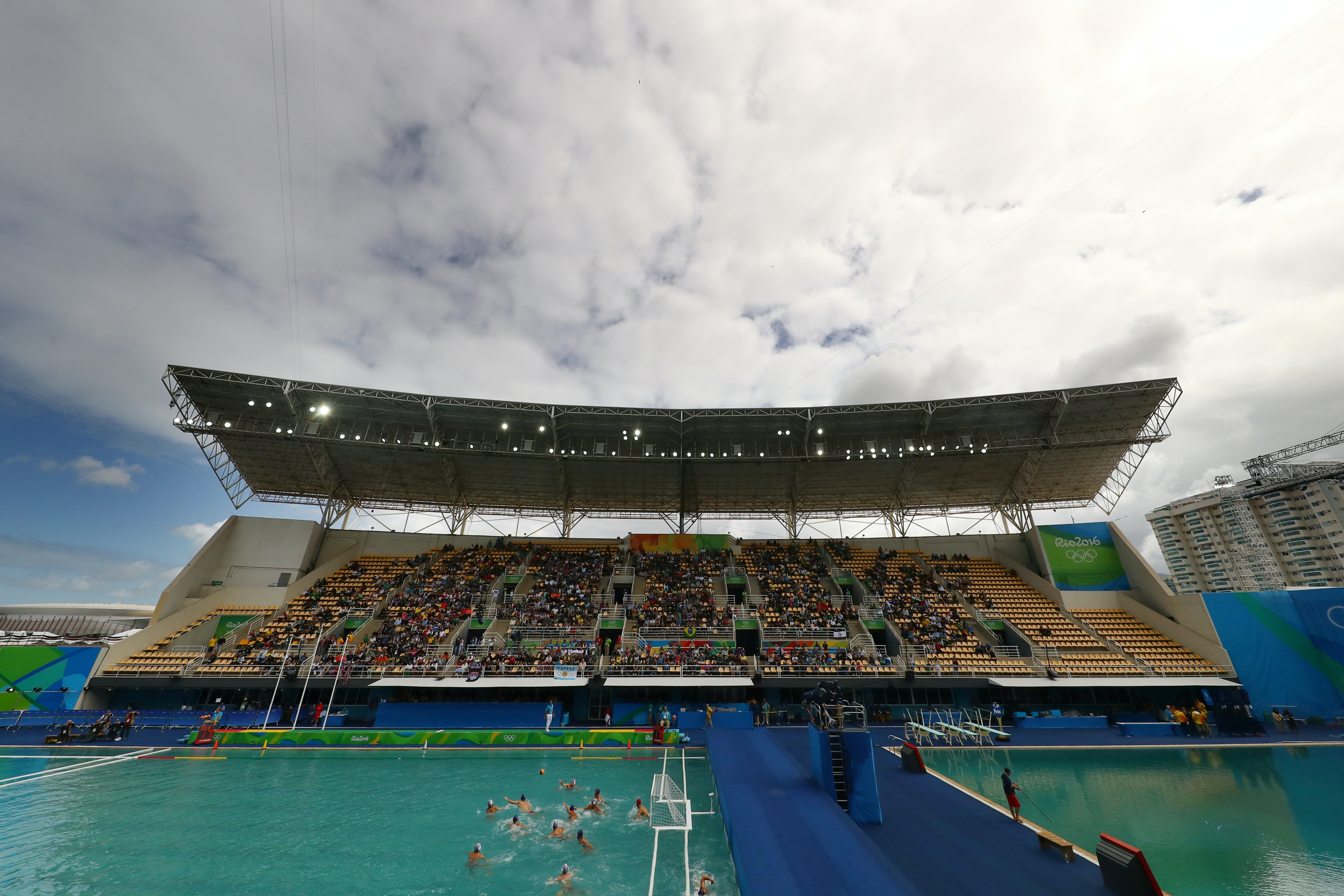 General view of Maria Lenk Aquatics Centre on Friday -- the diving pool is on the right and the water polo pool also has a distinctly green tinge.