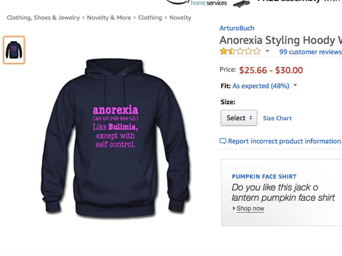 e6a9a1e78 Amazon Sells A Shirt Wildly Offensive to Anorexia and Bulimia Survivors