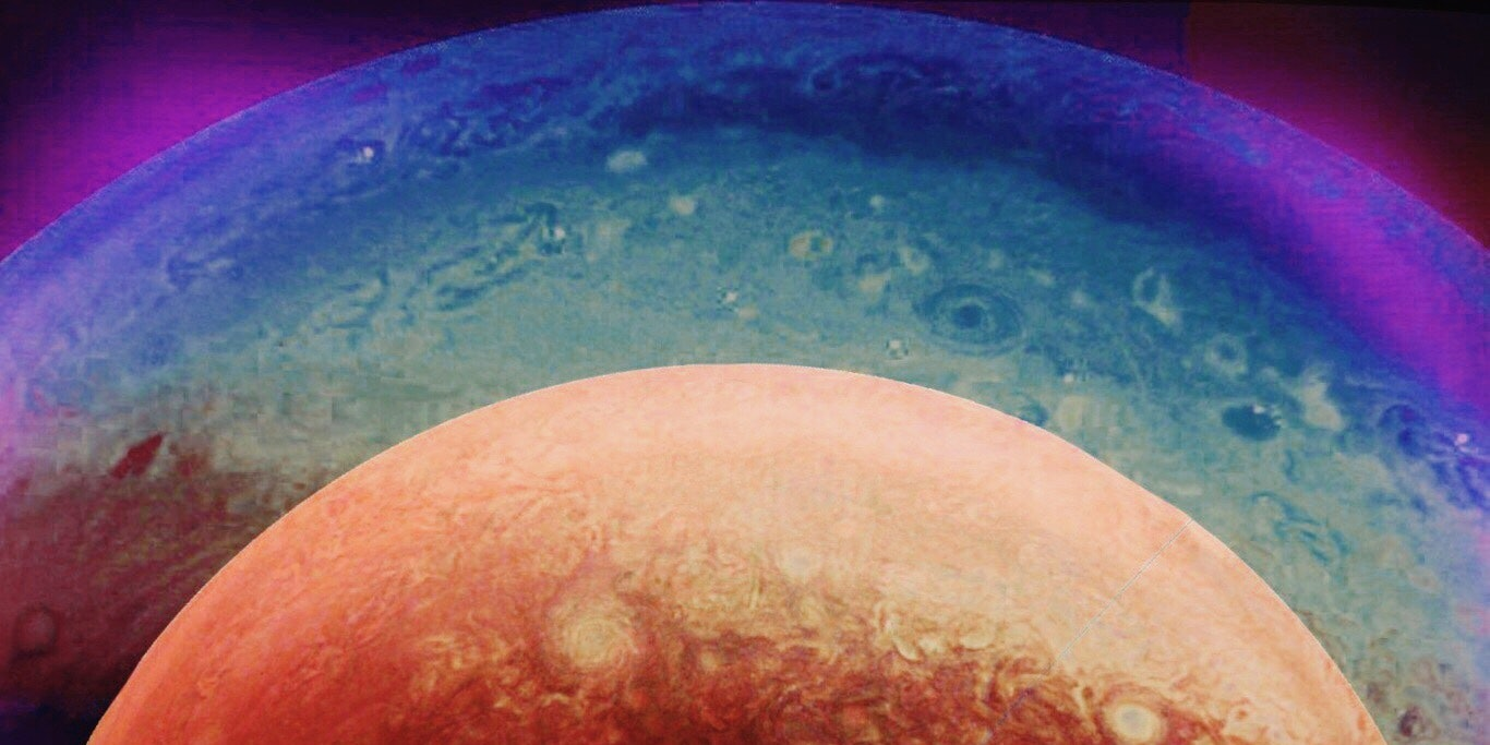 This is a composition of Juno's view arriving at Jupiter, submitted by Wintje.
