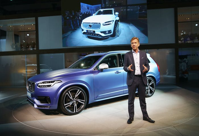 Hakan Samuelsson with a Volvo XC90.
