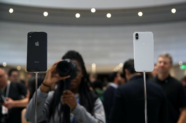 The new iPhone X is displayed during an Apple special event at the Steve Jobs Theatre on the Apple Park campus on September 12, 2017, in Cupertino, California.