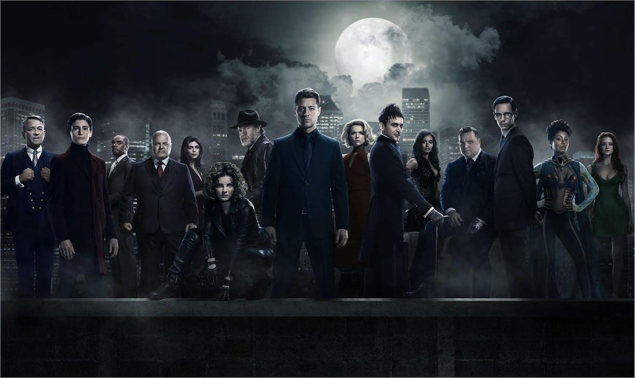 Ben McKenzie, David Mazouz, Robin Lord Taylor, Erin Richards, Camren Bicondova, and Cory Michael Smith in 'Gotham'