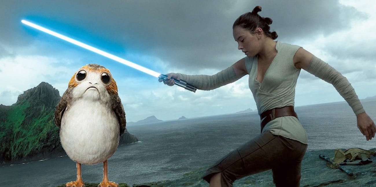 Rey does not like Porgs.