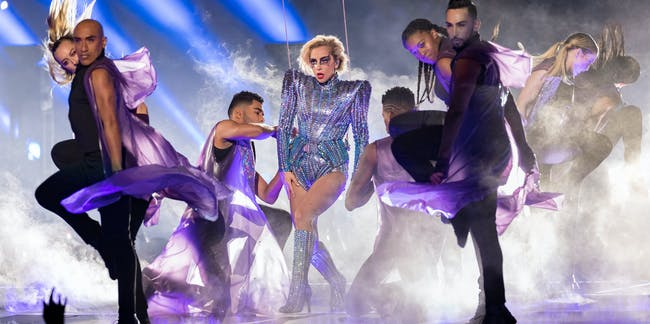 HOUSTON, TX - FEBRUARY 05:  Musician Lady Gaga performs onstage during the Pepsi Zero Sugar Super Bowl LI Halftime Show at NRG Stadium on February 5, 2017 in Houston, Texas.  (Photo by Christopher Polk/Getty Images)