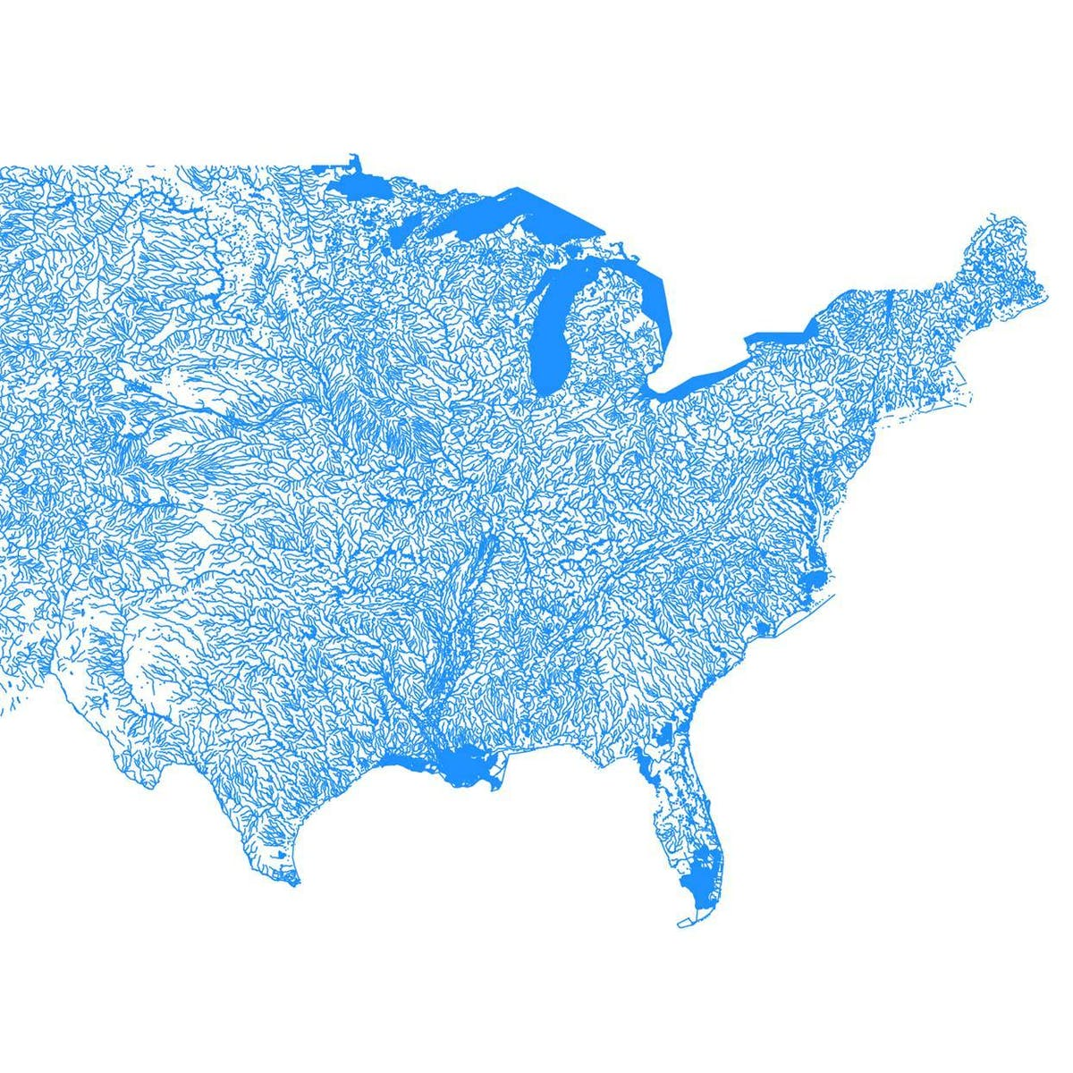 Map Uses Geological Survey Data to Show Every Body of Water
